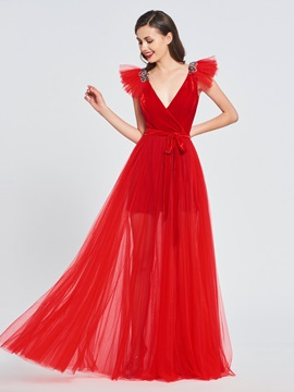 A-Line V-Neck Velvet Beaded Prom Dress