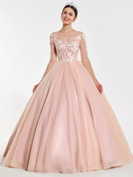 Illusion Neck Long Sleeves Appliques Quinceanera Dress