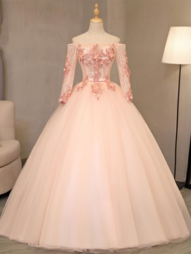 Off-the-Shoulder Appliques Lace Pearl Quinceanera Dress