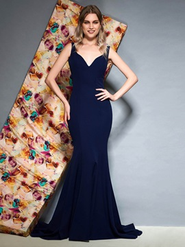 Straps Trumpet Bowknot Sleeveless Evening Dress 2019