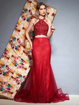 Lace Halter Floor-Length Mermaid Evening Dress 2019