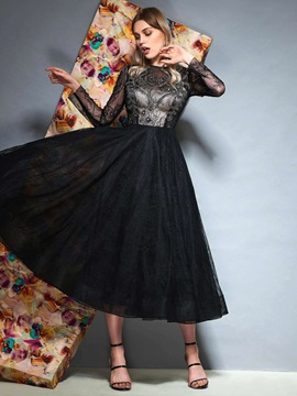 A-Line Ankle-Length Long Sleeves Lace Prom Dress