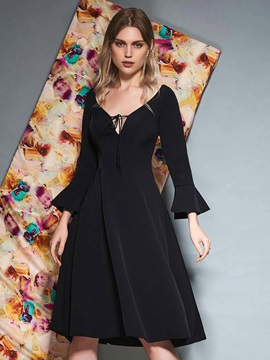 Ruffles V-Neck 3/4 Length Sleeves Cocktail Dress