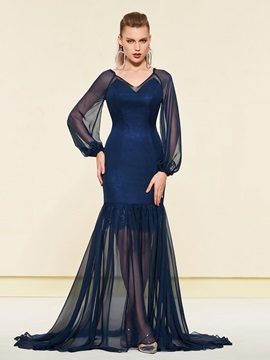 Trumpet Long Sleeves V-Neck Floor-Length Evening Dress 2019