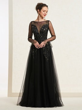 A-Line Bateau Floor-Length Long Sleeves Prom Dress