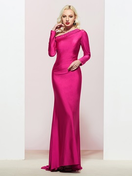 Trumpet Long Sleeves Beading Floor-Length Prom Dress 2019