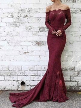 Off-The-Shoulder Lace Long Sleeves Evening Dress