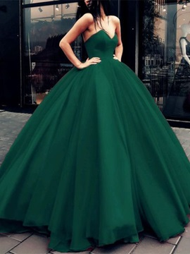 Lace-Up Ball Gown Dark Green Prom Dress