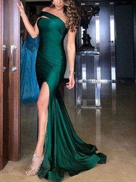 Sleeveless Trumpet Split-Front One Shoulder Evening Dress