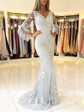 Long Sleeves V-Neck Trumpet Button Evening Dress