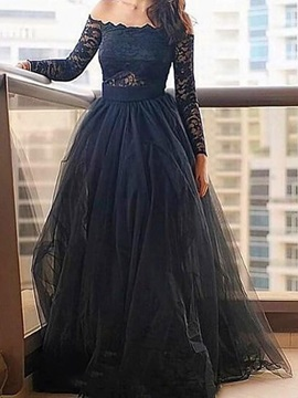 Long Sleeves A-Line Floor-Length Lace Evening Dress