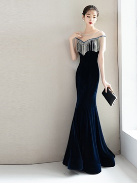Trumpet Floor-Length Tassel Scoop Evening Dress