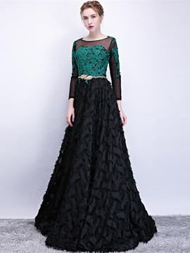 Sashes Sweep Train Bateau Floor-Length Evening Dress