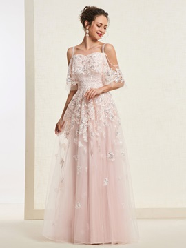 Appliques A-Line Floor-Length Short Sleeves Evening Dress