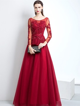 Long Sleeves A-Line Scoop Appliques Evening Dress