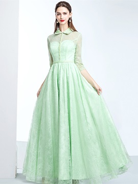 Floor-Length A-Line 3/4 Length Sleeves Jewel Evening Dress