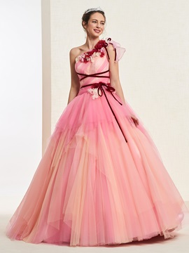 One Shoulder Flowers Ball Gown Quinceanera Dress 2019