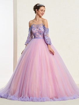 Off-The-Shoulder Appliques Half Sleeves Ball Gown Quinceanera Dress 2019