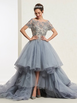 Ball Gown Lace Bateau Short Sleeves Quinceanera Dress 2019