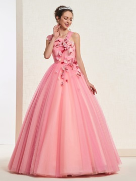 Ball Gown Pleats Sleeveless One Shoulder Quinceanera Dress 2019