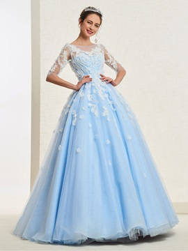 Floor-Length Appliques Half Sleeves Ball Gown Quinceanera Dress 2019