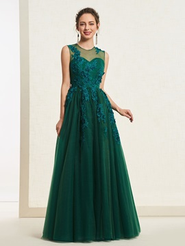 Scoop Appliques Sleeveless Floor-Length Evening Dress 2019