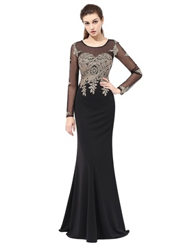 Scoop Trumpet Long Sleeves Appliques Evening Dress 2019