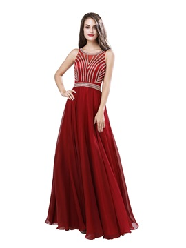 Sleeveless Beading A-Line Scoop Prom Dress 2019