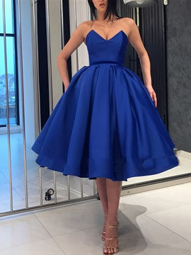 Pleats Tea-Length Ball Gown Sweetheart Prom Dress 2019