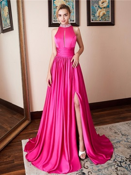 Beading A-Line Floor-Length High Neck Evening Dress 2019