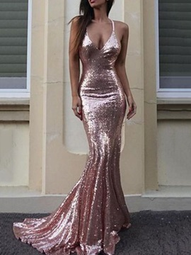 Shiny Trumpet Spaghetti Straps Sequins Evening Dress 2019
