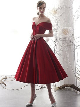 Tea-Length A-Line Off-The-Shoulder Button Homecoming Dress 2019