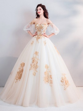 3/4 Length Sleeves Beading Ball Gown Floor-Length Quinceanera Dress 2019