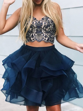 Sleeveless A-Line Sweetheart Beading Homecoming Dress 2019