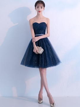 Knee-Length Sweetheart A-Line Sleeveless Homecoming Dress 2019