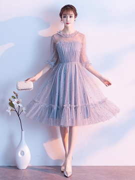 Jewel Half Sleeves Tea-Length A-Line Homecoming Dress 2019