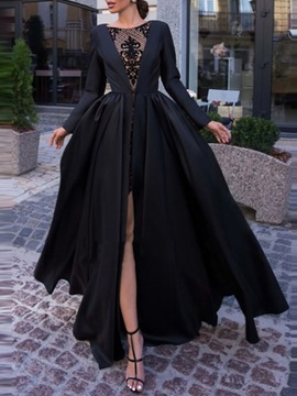 Split-Front Long Sleeves Black Evening Dress 2019