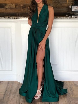 A-Line Sweep Floor-Length Sleeveless Evening Dress 2019