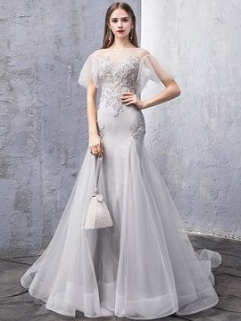 Floor-Length Short Sleeves Appliques Sweep Evening Dress 2019