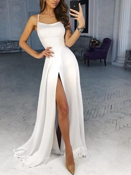 Spaghetti Straps Sleeveless Split-Front Prom Dress 2019