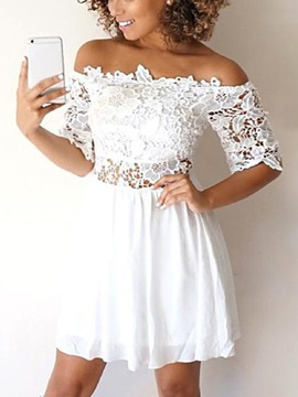 Off-The-Shoulder Short Sleeves Lace Homecoming Dress 2019