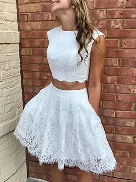 Cap Sleeves Pockets Lace Two Pieces Homecoming Dress 2019
