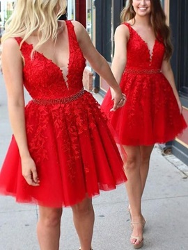 Amazing Appliques V-Neck Red Homecoming Dress 2019
