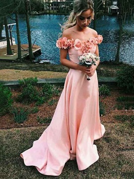Off-The-Shoulder 3D Flowers Prom Dress 2019