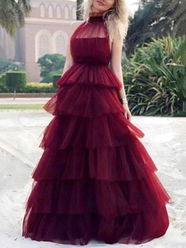 High Neck Tiered Ball Gown Prom Dress 2019