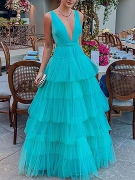 Ball Gown V-Neck Tiered Tulle Prom Dress 2019