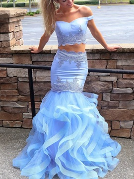Mermaid Appliques Off-The-Shoulder Two Piece Prom Dress 2019