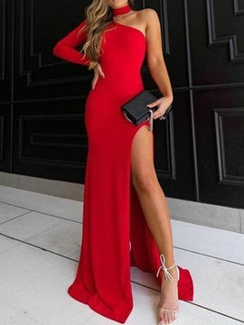 Sheath Long Sleeve One Shoulder Evening Dress 2019