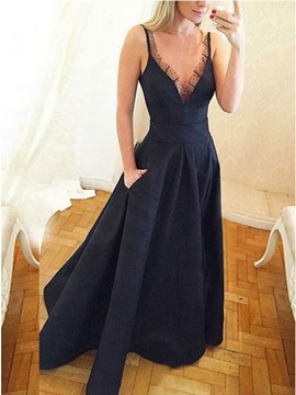 Spaghetti Straps Sleeveless Pockets Prom Dress 2019