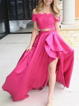 Asymmetry Beading Lace Two Piece Prom Dress 2020